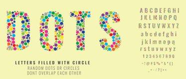 Stellen Sie von den Buchstaben ein, die von farbigen Punkten gemacht werden oder mit Kreisen gefüllt sind Kreative Güsse mit Kapi stock abbildung