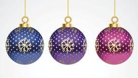 Stellen Sie von den bunten Bällen des Vektors Weihnachtsmit Verzierungen ein Sammlung lokalisierte realistische Dekorationen Vekt vektor abbildung
