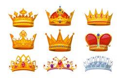 Stellen Sie von den bunten Kronen in der Karikaturart ein Königliche Kronen vom Gold für König, Königin und Prinzessin Kronenprei vektor abbildung
