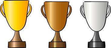 Stellen Sie von den Cups für Sieger ein Belohnung und Trophäe vektor abbildung