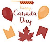 Stellen Sie von den dekorativen Gegenständen für Kanada-Tag ein Roter Ballon, gelber Ballon, rote Fahne, gelbe Flagge, Zündladung stock abbildung
