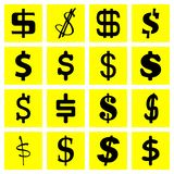 Stellen Sie von den Dollarikonen lokalisierte Logos ein lizenzfreie abbildung