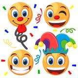 Stellen Sie von den Emoticons auf einem Weiß ein Dummkopf ` s Tag stock abbildung