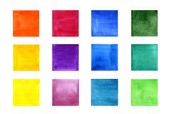 Stellen Sie von den Farbaquarellquadraten ein vektor abbildung