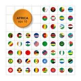 Stellen Sie von den Flaggen von Afrika ein Dreieckiger Knopf Vektor 10 ENV stock abbildung