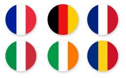 Stellen Sie von den Flaggen ein, Farbvektorgrafikdesign lokalisiert auf Weiß lizenzfreie abbildung