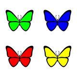 Stellen Sie von den futuristischen Schmetterlingen auf weißem Hintergrund ein bunt Auch im corel abgehobenen Betrag vektor abbildung