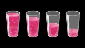 Stellen Sie von den Gläsern mit frischem funkelndem Saft ein Voll und leer lizenzfreie abbildung