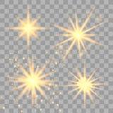 Stellen Sie von den goldenen glühenden Lichtern ein stock abbildung