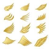 Stellen Sie von den Goldflügeln auf weißem Hintergrund ein vektor abbildung