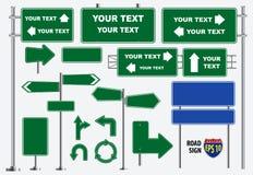 Stellen Sie von den grünen lokalisierten Verkehrsschildern, für Broschüre, Flieger, Abdeckungsbuch und anderen Druckentwurf ein lizenzfreie abbildung