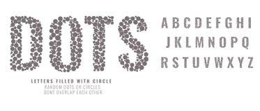 Stellen Sie von den Großbuchstaben ein, die von den Punkten gemacht werden oder mit Kreisen gefüllt sind Kreative Gussvektorillus lizenzfreie abbildung