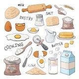 Stellen Sie von den Handgezogenen Elementen für das Kochen des Gebäcks ein lizenzfreie abbildung