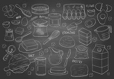 Stellen Sie von den Handgezogenen Elementen für das Kochen des Gebäcks auf Tafel ein vektor abbildung