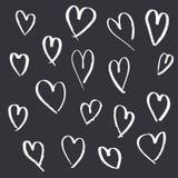 Stellen Sie von den Handgezogenen Herzen auf grauem Hintergrund ein lizenzfreie abbildung