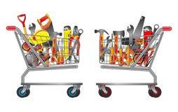 Stellen Sie von den Handwerkzeugen im Laufkatzeneinkaufen ein r stock abbildung