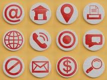 Stellen Sie von den Hauptikonen für Website oder bewegliche Anwendung ein RealismusKonzept des Entwurfes Rote gemalte Symbole auf stockbilder