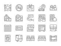 Stellen Sie von den Hotel-Nebengleis-Ikonen ein Tischbesteck, Reise-Taschen, Anmeldungs-Raum und mehr vektor abbildung