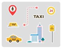 Stellen Sie von den Ikonen für ein Taxi ein Auto, Haus, Zeichen, Aufkleber mit Anschlägen Flaches Design stock abbildung