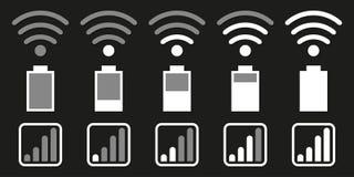 Stellen Sie von den Ikonen für Handysystem ein Wifi, Batterie, Netz lizenzfreie abbildung