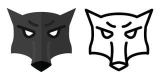 Stellen Sie von den Ikonen - Logos in der linearen und flachen Art der Kopf eines Wolfs ein Auch im corel abgehobenen Betrag lizenzfreie abbildung