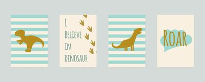 Stellen Sie von den Kindertagesstättenkarten mit Dinosauriern ein Für Kinderdrucke Postkarten, Wandkunst stockfoto