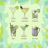 Stellen Sie von den klassischen Cocktails auf abstraktem grünem Hintergrund ein Neues Menü der alkoholischen Getränke der Bar Vek stock abbildung