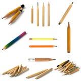 Stellen Sie von den kurzen Bleistiften auf lokalisiertem Hintergrund ein stockbilder