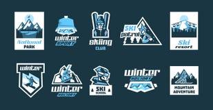 Stellen Sie von den Logos auf dem Thema des Wintersports ein Sammlung Plakate, Aufkleber, Ikonen, Stempel Aktiver Lebensstil Snow lizenzfreie abbildung