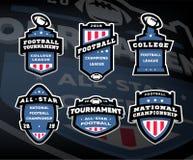 Stellen Sie von den Logos des amerikanischen Fußballs, Embleme, Aufkleber auf einem dunklen Hintergrund ein vektor abbildung