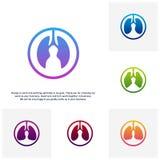 Stellen Sie von den Lungen sich interessieren Logo Template Design Vector, das Lungegesundheit Konzept des Entwurfes ein, kreativ vektor abbildung