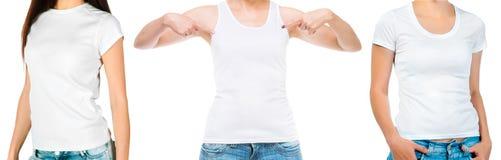 Stellen Sie von den Mädchen in einem weißen Unterhemd und in einem Spitzen lokalisiert ein stockbild