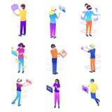 Stellen Sie von den modernen jungen Leuten ein und Kopfh?rer der virtuellen Realit?t tragen lizenzfreie abbildung