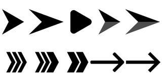 Stellen Sie von den modernen Schwarzweiss-Pfeilen ein vektor abbildung