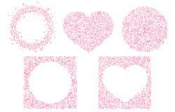 Stellen Sie von den netten romantischen Rahmen f?r Valentine Day ein Kreisform, Herzformverzierung Lokalisierter editable Vektorc stock abbildung