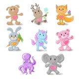 Stellen Sie von den netten Tieren Hund, Rotwild, Fox, Kaninchen, Pony, Teddybär, Elefant, Seetier ein Stockfotos