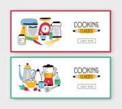 Stellen Sie von den Netzfahnenschablonen mit Küchengeräten, Werkzeugen für Lebensmittelzubereitung und Platz für Text ein Farbige stock abbildung