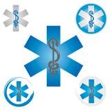 Stellen Sie von den Notstern-Ikonen mit Caduceus-Symbol-blau- Gesundheit/Apotheke ein vektor abbildung