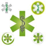 Stellen Sie von den Notstern-Ikonen mit Caduceus-Symbol-Grün - Gesundheit/Apotheke ein lizenzfreie abbildung