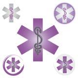 Stellen Sie von den Notstern-Ikonen mit Caduceus-Symbol-Purpur - Gesundheit/Apotheke ein lizenzfreie abbildung