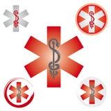 Stellen Sie von den Notstern-Ikonen mit Caduceus-Symbol-rot- Gesundheit/Apotheke ein vektor abbildung