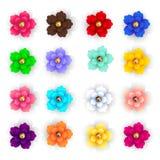 Stellen Sie von den Papierblumen des hellen mehrfarbigen Vektors 3d ein Blumensträuße der Rosen lizenzfreie abbildung