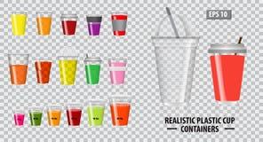 Stellen Sie von den realistischen colorfull Schalenbehältern, mit klarem Plastik in den Wegwerfschalen, für Soda, Tee ein, cofee  vektor abbildung