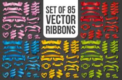 Stellen Sie von den realistischen Farbbändern ein Element von Dekorationsgeschenken, Grüße, Feiertage, Valentinsgruß-Tagesentwurf vektor abbildung