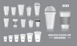 Stellen Sie von den realistischen Schalen-Behältern, mit klarem Plastik in den Wegwerfschalen, für Soda, Tee, Kaffee und andere k vektor abbildung