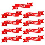 Stellen Sie von den roten Verkaufsbändern mit unterschiedlichem Rabatt ein lizenzfreie abbildung