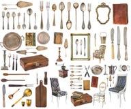 Stellen Sie von den sch?nen antiken Einzelteilen, Bilderrahmen, M?bel, Tafelsilber ein retro weinlese Getrennt auf wei?em Hinterg stockbilder