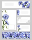 Stellen Sie von den Schablonen für das Einbrennen und die Blumenbookmarks, Visitenkarten ein Blaue Blumen auf einem wei?en Hinter stock abbildung