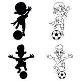 Stellen Sie von den Schattenbildern und von einer Kontur von den Fußballspielern ein, die Ball spielen stock abbildung