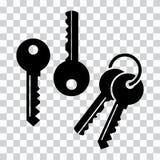 Stellen Sie von den Schlüsseln, schwarze Schattenbilder ein Auch im corel abgehobenen Betrag vektor abbildung